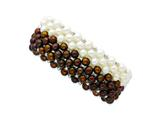 Sterling Silver White Chocolate 6-7mm Freshwater Cultured Potato Pearl Stretch Bracelet style: QH4816