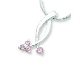 Sterling Silver Pink Cubic Zirconia Pendant - Chain Included style: QH609