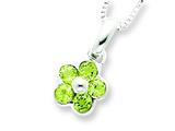 Sterling Silver Peridot Flower Pendant W/ 16 Chain - Chain Included style: QH808