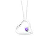 Sterling Silver Cubic Zirconia Heart Pendant W/ 18 Box Chain - Chain Included style: QH840