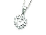 Sterling Silver Cubic Zirconia Heart Pendant W/ 18 Box Chain - Chain Included style: QH860