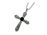 Sterling Silver 18 Popcorn Chain W/ Marcasite Onyx Cross Pendant - Chain Included style: QH875