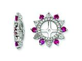 Sterling Silver Created Ruby Earring Jackets style: QJ105JUL