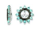 Sterling Silver Swiss Blue Topaz and Black Sapphire Earring Jackets style: QJ108DEC