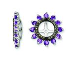 Sterling Silver Amethyst and Black Sapphire Earring Jackets style: QJ108FEB