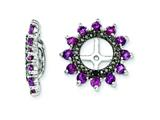 Sterling Silver Rhodolite Garnet and Black Sapphire Earring Jackets style: QJ108JUN