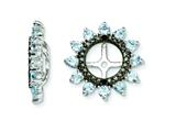 Sterling Silver Aquamarine and Black Sapphire Earring Jackets style: QJ108MAR