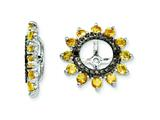 Sterling Silver Citrine and Black Sapphire Earring Jackets style: QJ108NOV