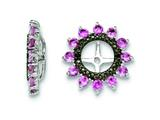 Sterling Silver Created Pink Sapphire and Black Sapphire Earring Jackets style: QJ108OCT