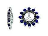 Sterling Silver Created Blue Sapphire and Black Sapphire Earring Jackets style: QJ108SEP