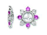 Sterling Silver Created Pink Sapphire Earring Jackets style: QJ110OCT