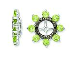 Sterling Silver Peridot and Black Sapphire Earring Jackets style: QJ114AUG