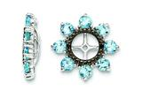 Sterling Silver Swiss Blue Topaz and Black Sapphire Earring Jackets style: QJ114DEC