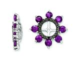 Sterling Silver Rhodolite Garnet and Black Sapphire Earring Jackets style: QJ114JUN