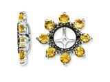 Sterling Silver Citrine and Black Sapphire Earring Jackets style: QJ114NOV