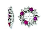 Sterling Silver Created Ruby Earring Jackets style: QJ120JUL