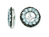 Sterling Silver Aquamarine and Black Sapphire Earring Jackets style: QJ125MAR