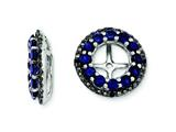 Sterling Silver Created Blue Sapphire and Black Sapphire Earring Jackets style: QJ125SEP