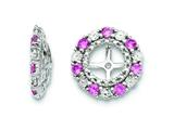 Sterling Silver Created Pink Sapphire Earring Jackets style: QJ129OCT