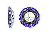 Sterling Silver Amethyst and Black Sapphire Earring Jackets style: QJ130FEB
