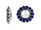 Sterling Silver Created Blue Sapphire and Black Sapphire Earring Jackets style: QJ130SEP