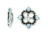 Sterling Silver Aquamarine and Black Sapphire Earring Jackets style: QJ137MAR