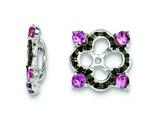 Sterling Silver Created Pink Sapphire and Black Sapphire Earring Jackets style: QJ137OCT