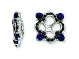 Sterling Silver Created Blue Sapphire and Black Sapphire Earring Jackets style: QJ137SEP