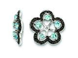 Sterling Silver Swiss Blue Topaz and Black Sapphire Earring Jackets style: QJ141DEC