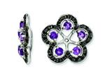Sterling Silver Amethyst and Black Sapphire Earring Jackets style: QJ141FEB