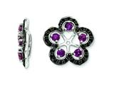 Sterling Silver Rhodolite Garnet and Black Sapphire Earring Jackets style: QJ141JUN