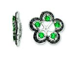 Sterling Silver Created Emerald and Black Sapphire Earring Jackets style: QJ141MAY
