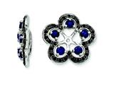 Sterling Silver Created Blue Sapphire and Black Sapphire Earring Jackets style: QJ141SEP