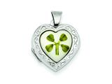 Sterling Silver Mop With 4 Leaf Clover 2-frame Heart Locket style: QLS126