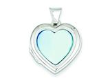 Sterling Silver Blue Mop 18mm 2-frame Heart Locket style: QLS132
