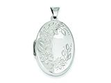 Sterling Silver Floral Oval Locket style: QLS13