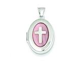 Sterling Silver Pink Mop Cross 2-frame Oval Locket style: QLS142