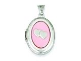 Sterling Silver Mop With 2 Hearts 2-frame Oval Locket style: QLS144