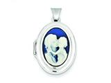 Sterling Silver Agate Cameo 21mm 2-frame Oval Locket style: QLS149