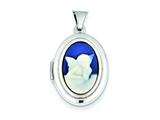 Sterling Silver Angel Agate Cameo 20mm 2-frame Oval Locket style: QLS150