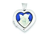 Sterling Silver Angel Agate Cameo 18mm 2-frame Heart Locket style: QLS151