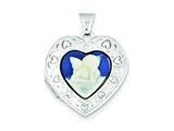 Sterling Silver Angel Agate Cameo 21mm 2-frame Heart Locket style: QLS152