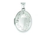 Sterling Silver Floral 21mm Oval Locket style: QLS156