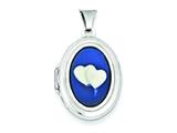 Sterling Silver Double Heart Agate Cameo 21mm Oval Locket style: QLS157