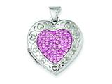 Sterling Silver Pave Pink Swarovski Elements 21mm Heart Locket style: QLS164