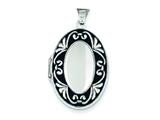 Sterling Silver Enameled Scroll Oval Locket style: QLS19