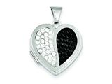 Sterling Silver 18mm Heart Blackandwhite Swarovski Elements Locket style: QLS209