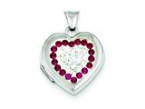 Sterling Silver 15mm Red and White Swarovski Elements Locket Necklace style: QLS211