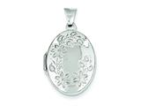 Sterling Silver Floral Oval Locket style: QLS22