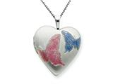 925 Sterling Silver 20mm with Enameled Butterflies Heart Locket - Chain Included